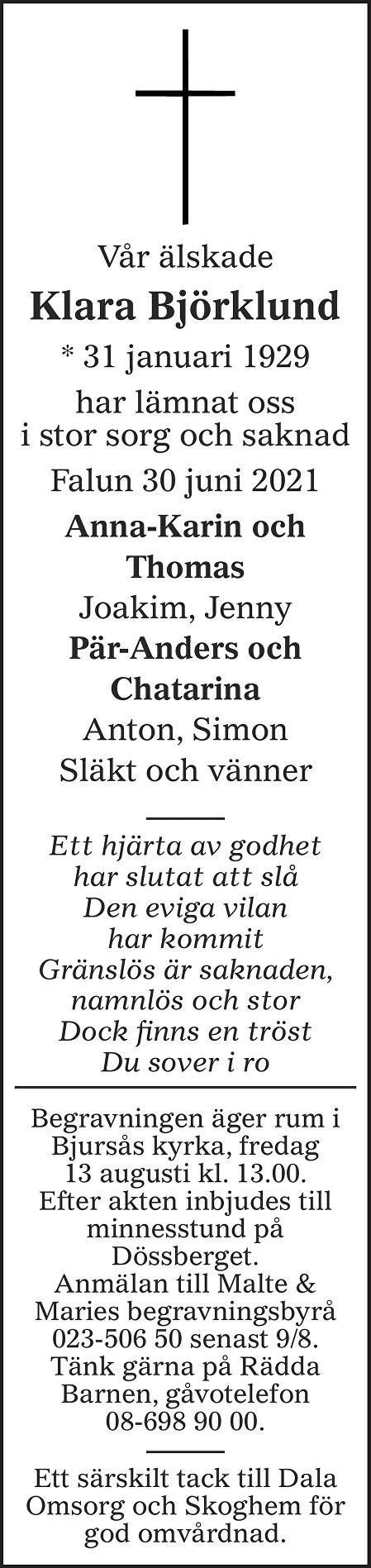 Klara Björklund Death notice