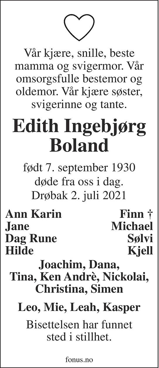 Edith Ingebjørg Boland Dødsannonse