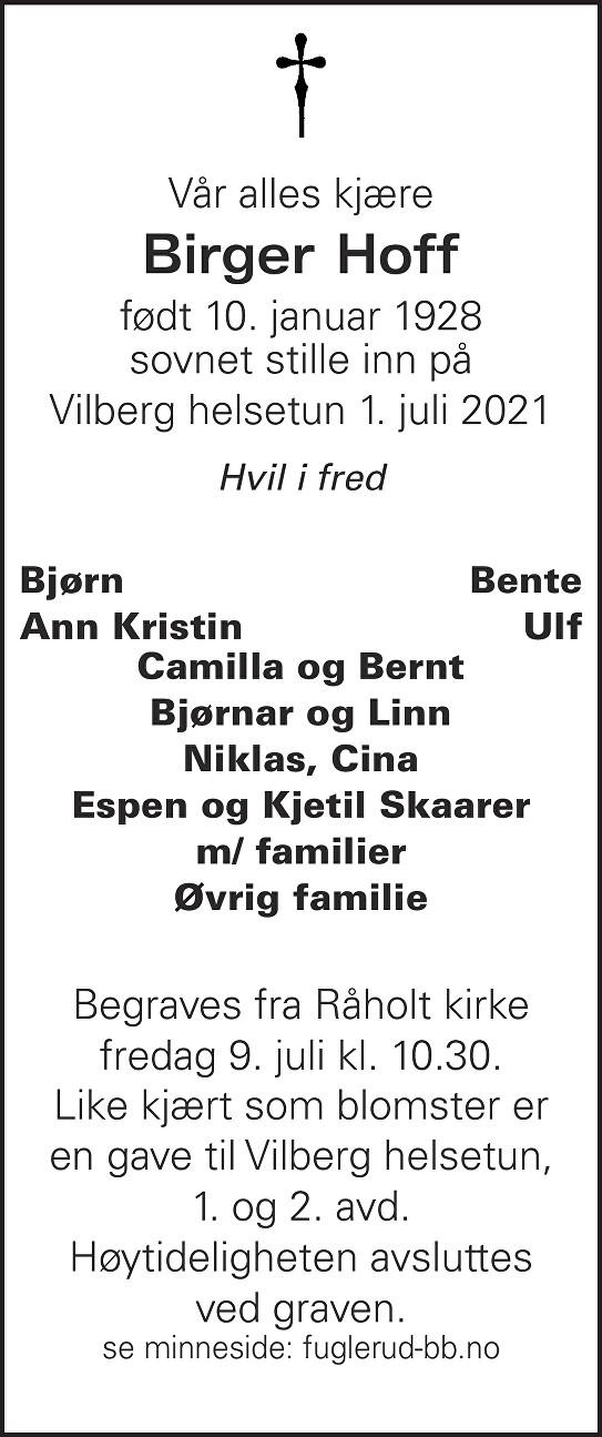 Birger Hoff Dødsannonse