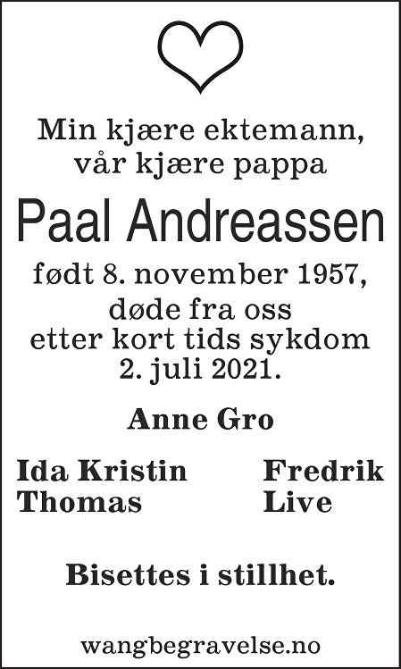 Paal Andreassen Dødsannonse