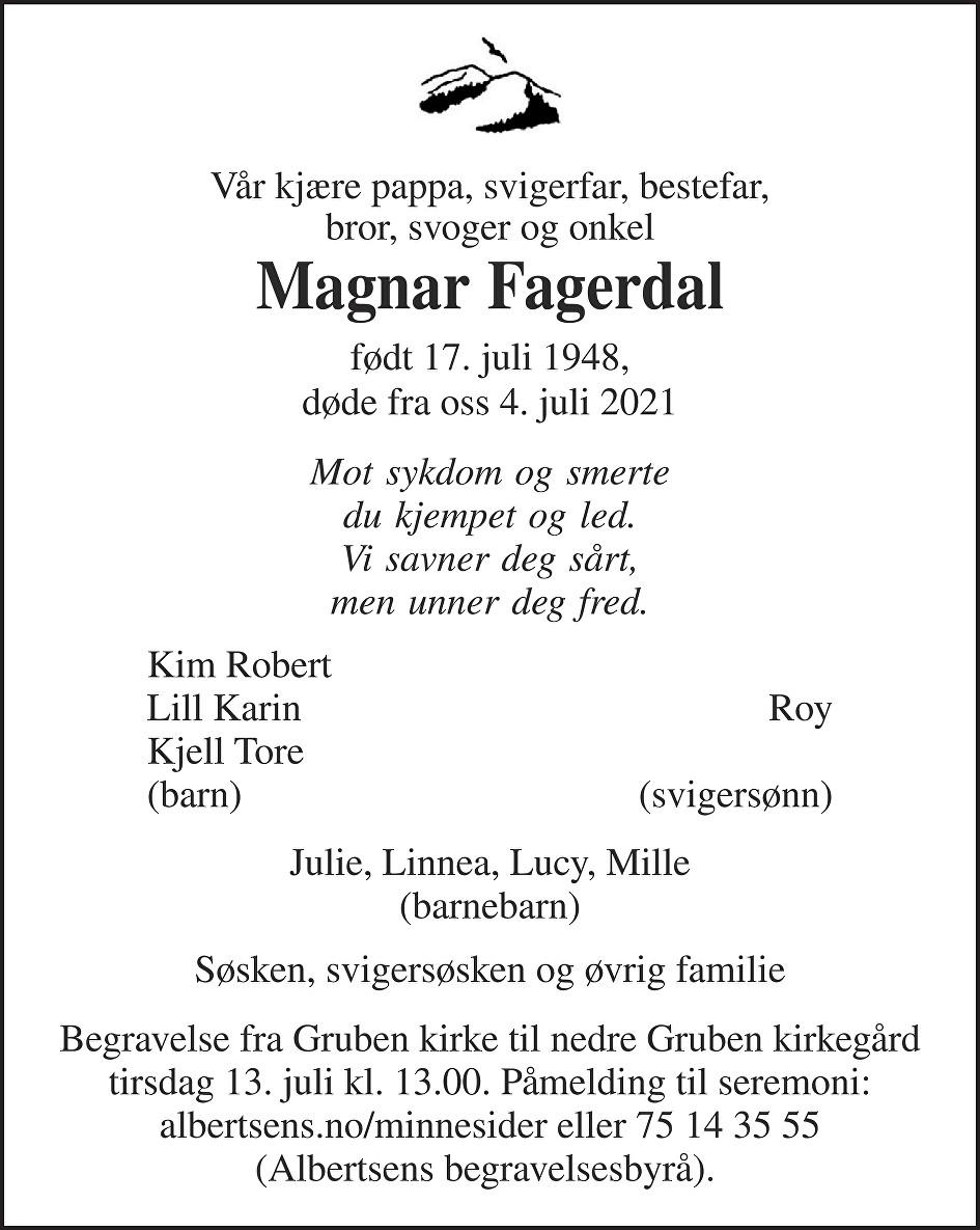 Magnar Fagerdal Dødsannonse