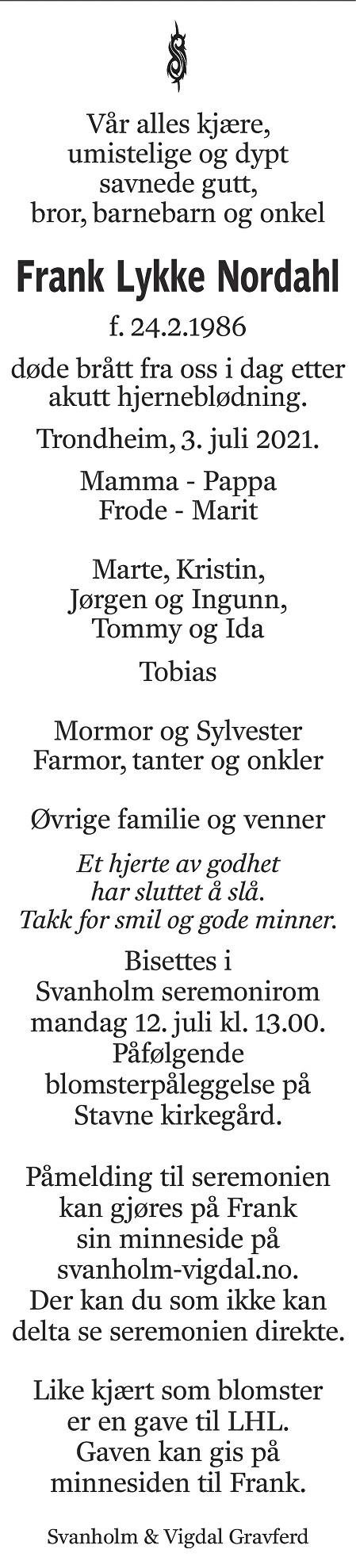 Frank Lykke Nordahl Dødsannonse