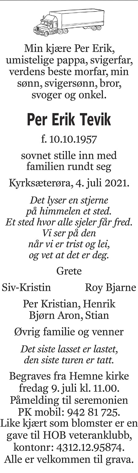 Per Erik Tevik Dødsannonse