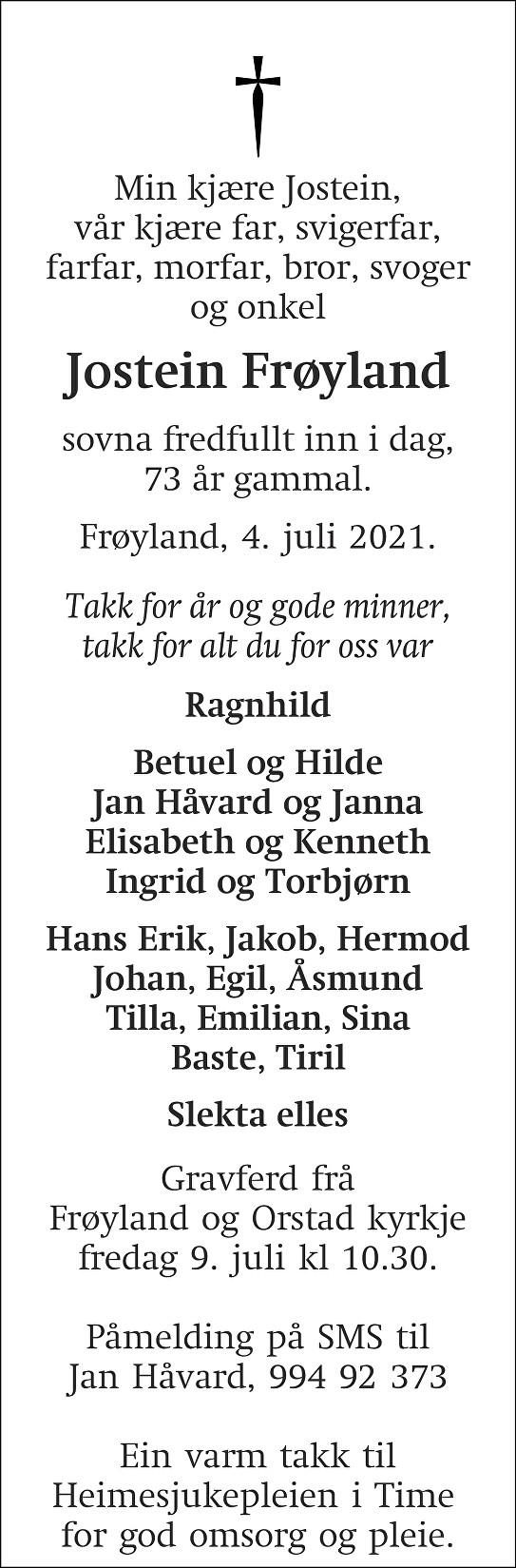 Jostein Frøyland Dødsannonse