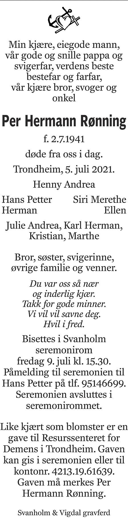 Per Hermann Rønning Dødsannonse