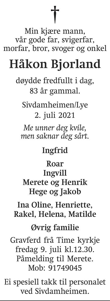 Håkon Bjorland Dødsannonse