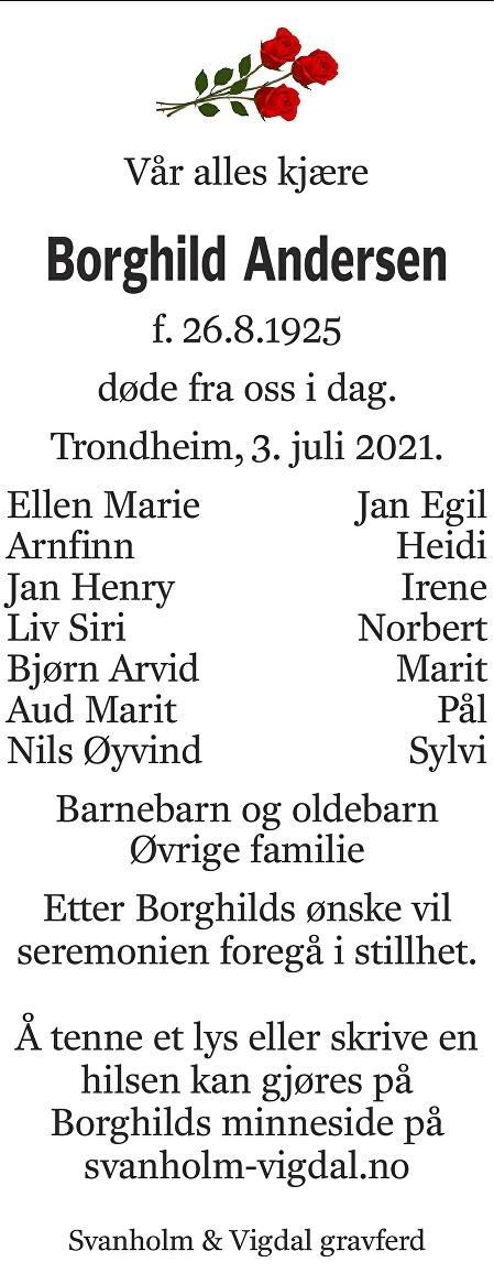 Borghild Andersen Dødsannonse