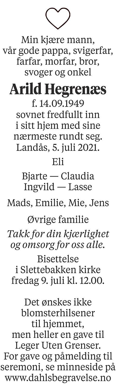 Arild Hegrenæs Dødsannonse