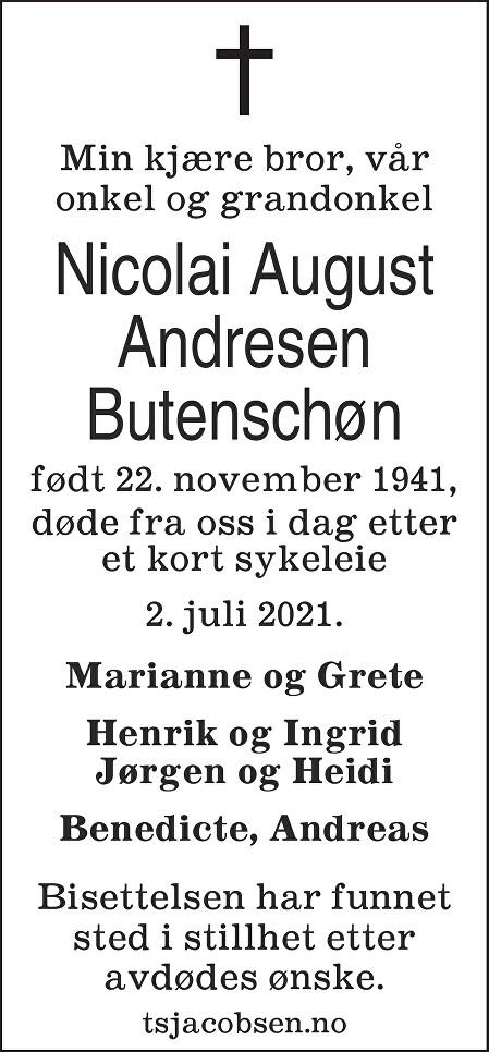 Nicolai August Butenschøn Dødsannonse