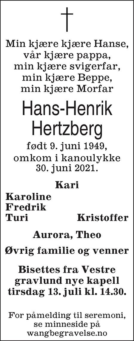 Hans-Henrik Hertzberg Dødsannonse