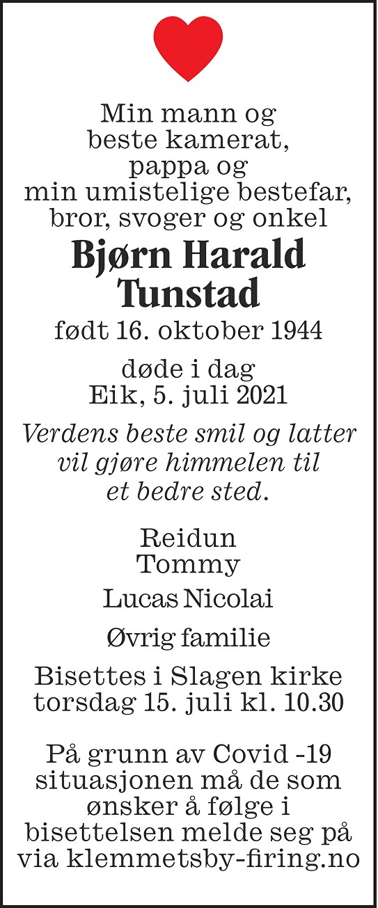 Bjørn Harald Tunstad Dødsannonse