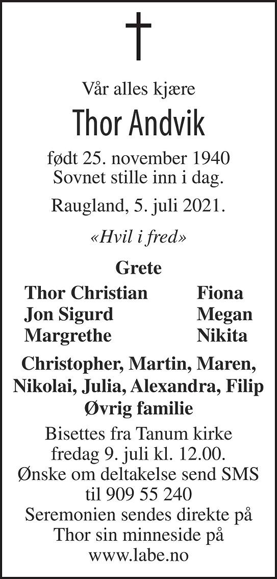 Thor Andvik Dødsannonse