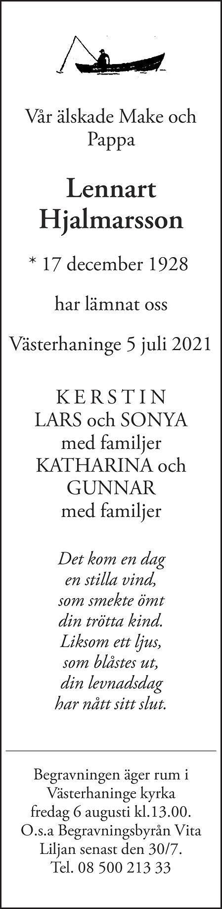 Lennart Hjalmarsson Death notice