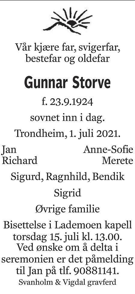Gunnar Storve Dødsannonse