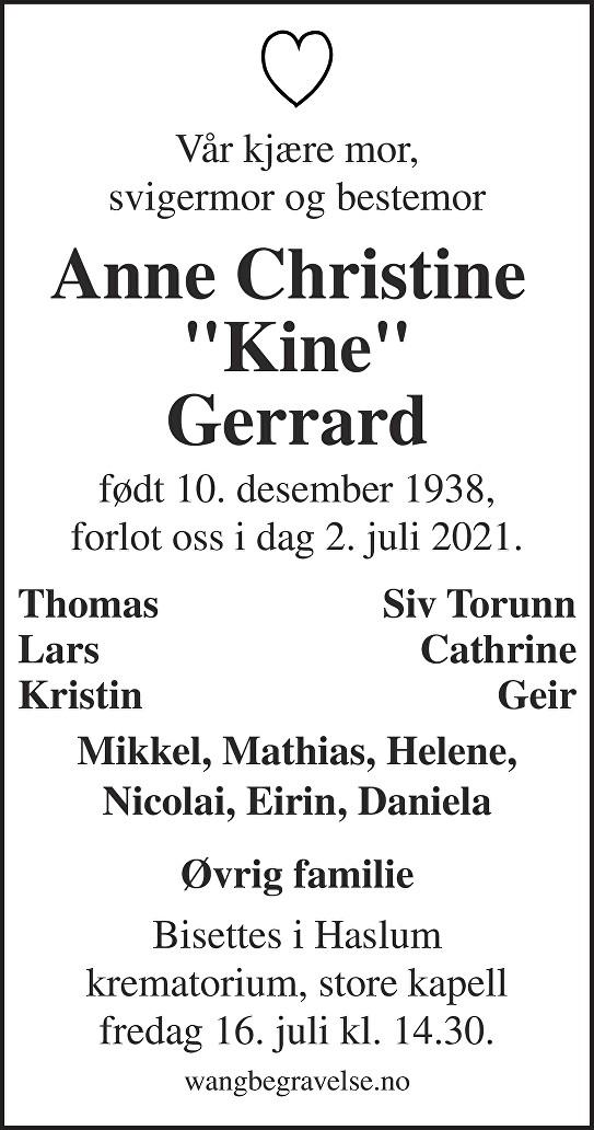 Anne Christine Gerrard Dødsannonse