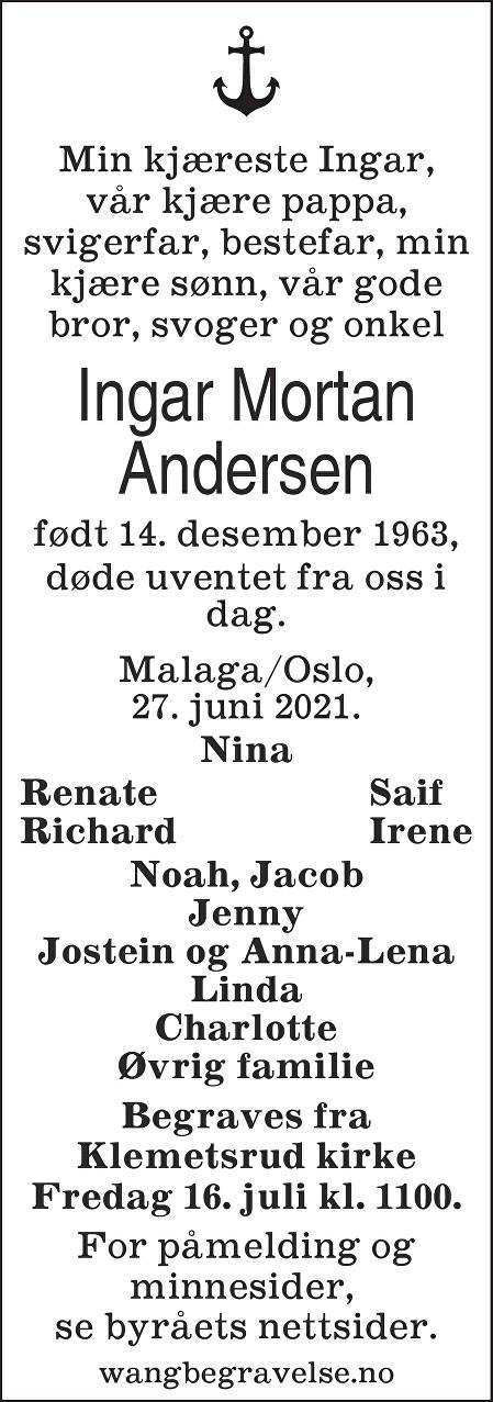 Ingar Mortan Andersen Dødsannonse