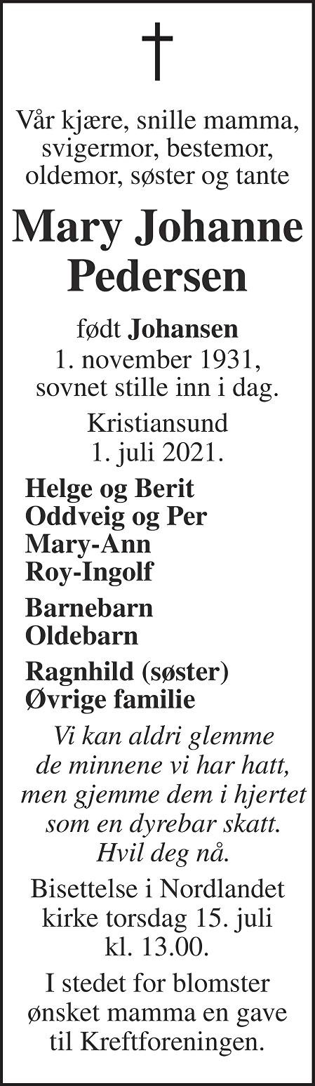 Mary Johanne Pedersen Dødsannonse