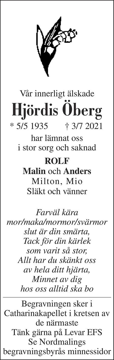 Hjördis Öberg Death notice