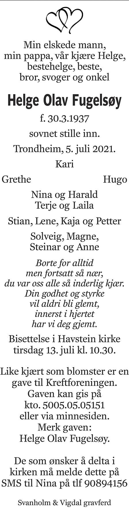 Helge Olav Fugelsøy Dødsannonse