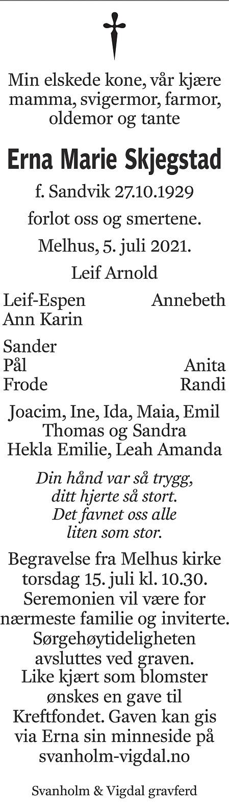 Erna Marie  Skjegstad Dødsannonse