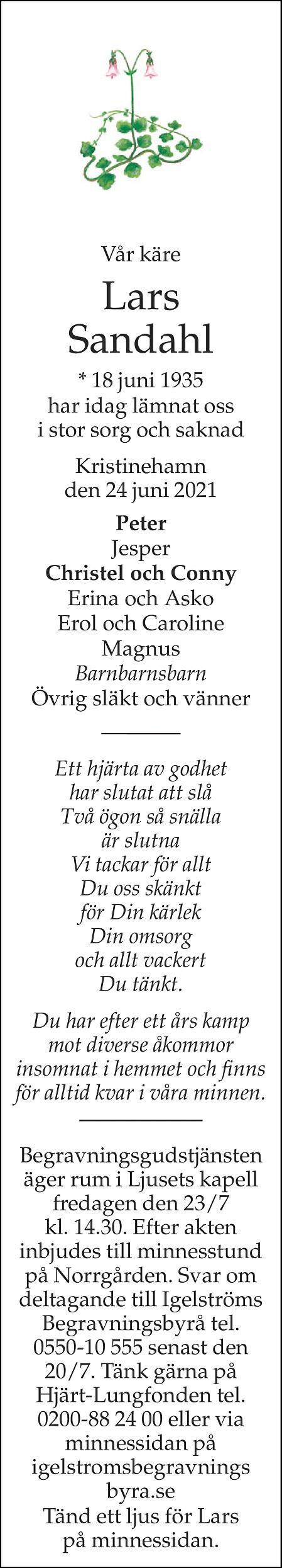 Lars Sandahl Death notice