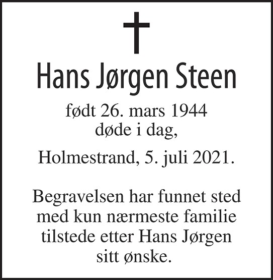 Hans Jørgen Steen Dødsannonse