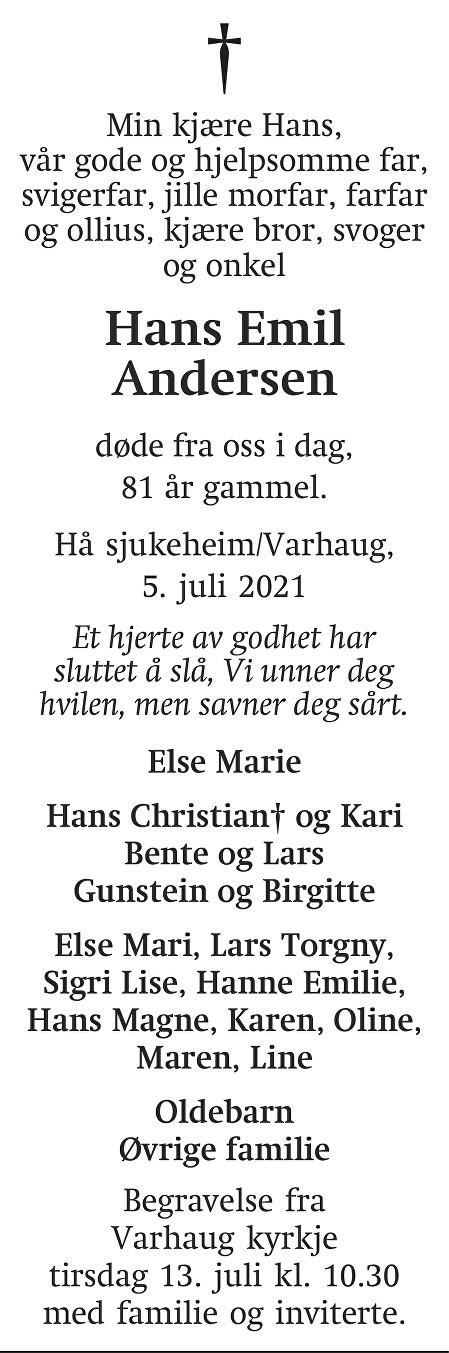 Hans Emil Andersen Dødsannonse