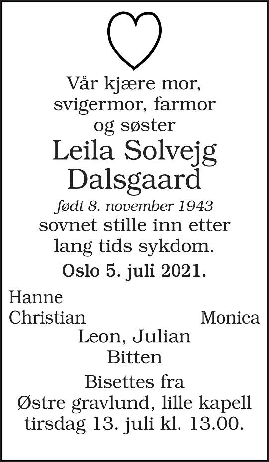 Leila Solvejg Dalsgaard Dødsannonse