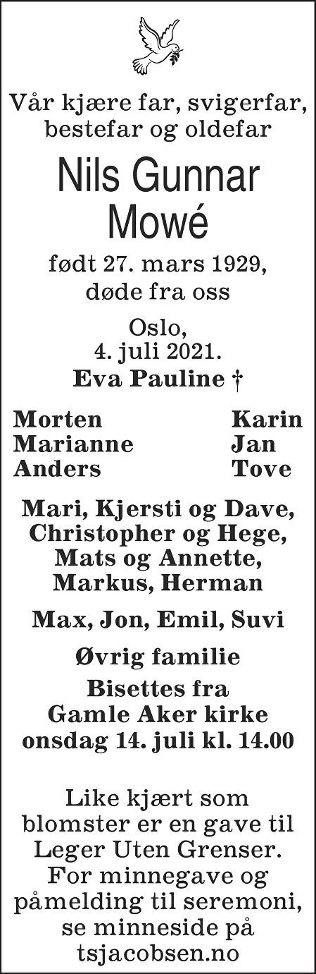 Nils Gunnar Mowe Dødsannonse