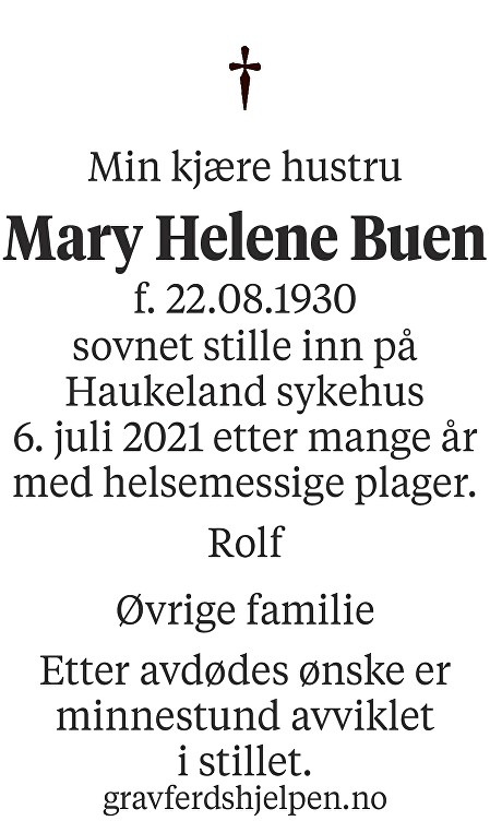 Mary Helene Buen Dødsannonse