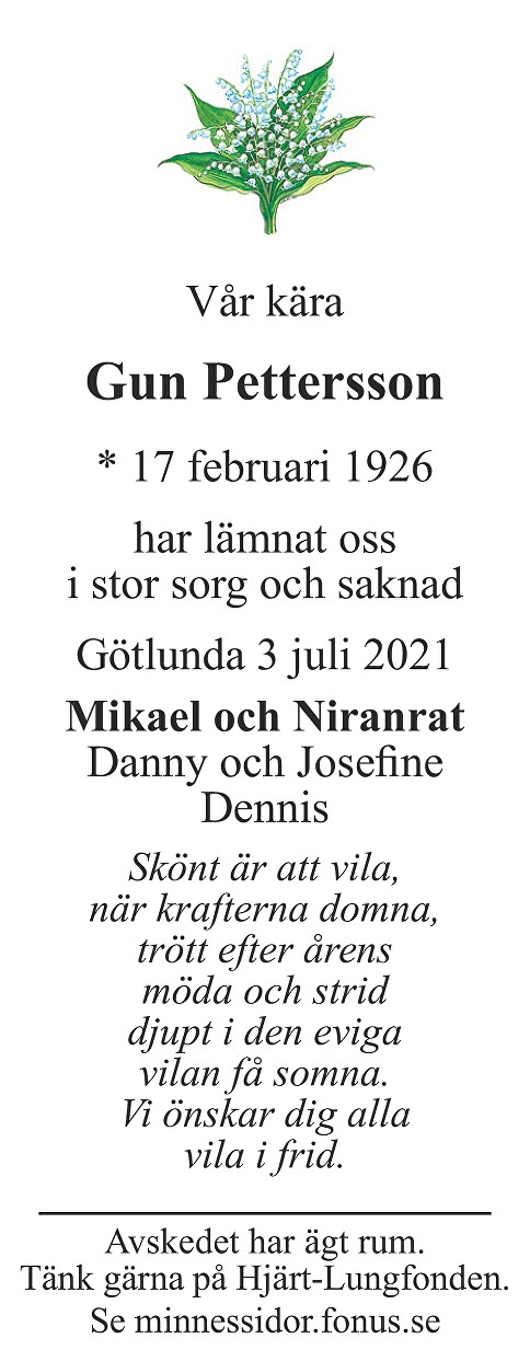 Gun Pettersson Death notice