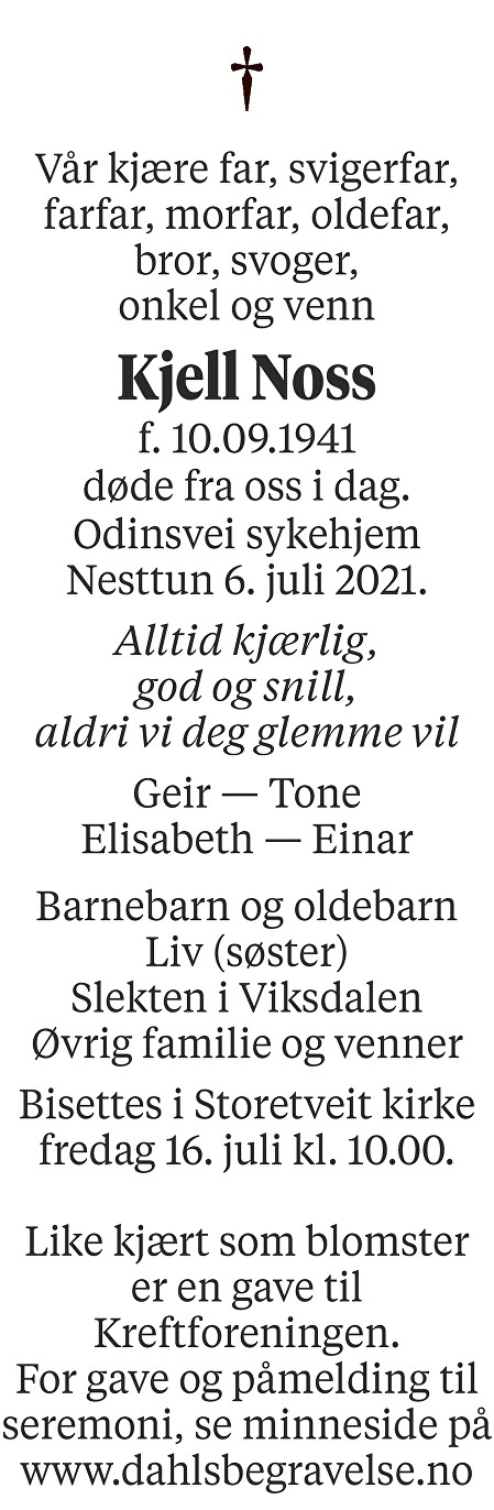 Kjell Noss Dødsannonse