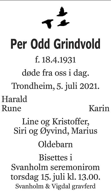 Per Odd Grindvold Dødsannonse
