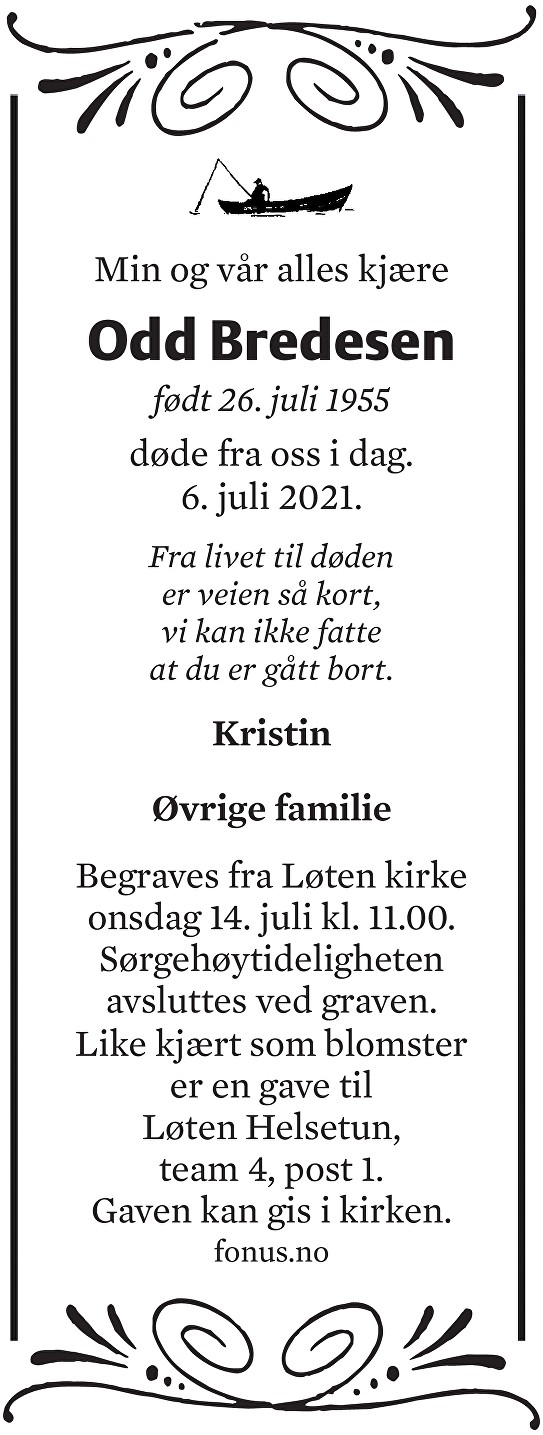 Odd Hellik Bredesen Dødsannonse