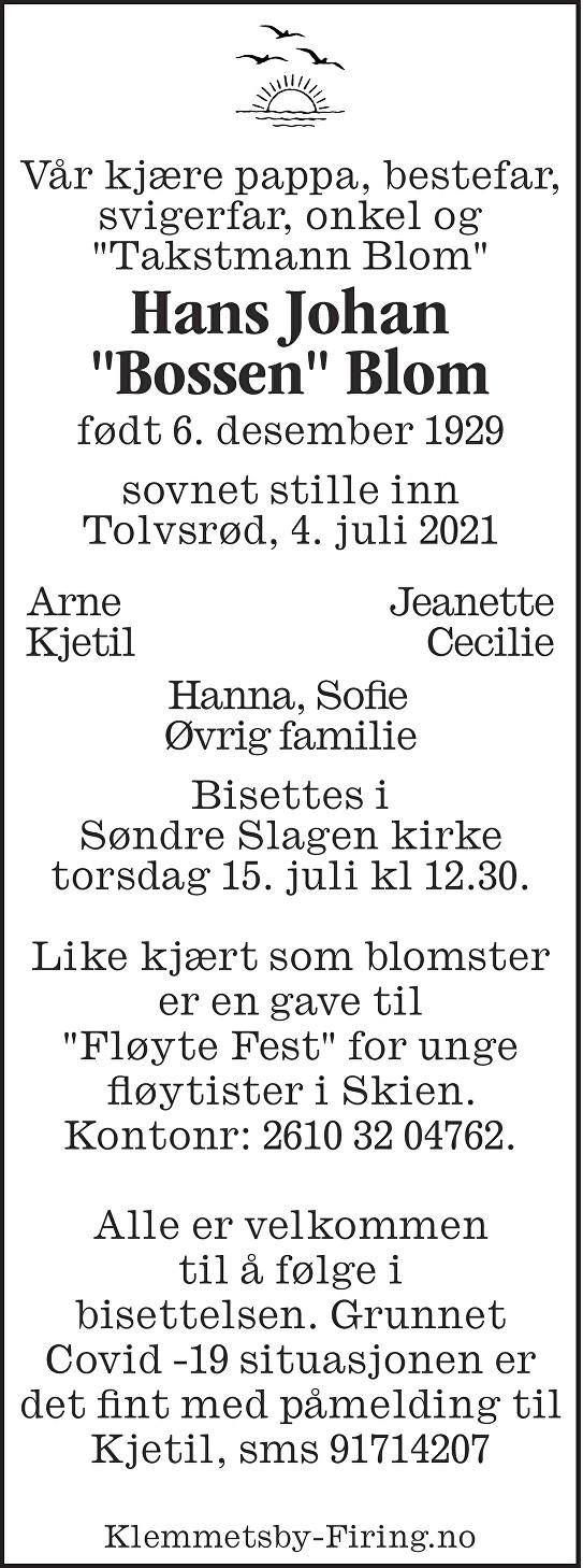Hans Johan Blom Dødsannonse