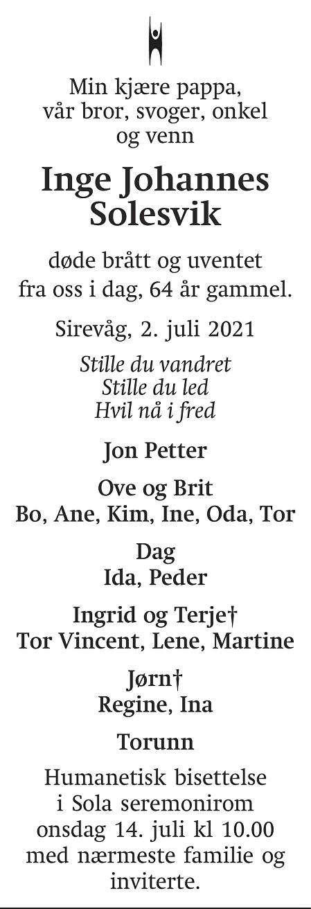 Inge Johannes Solesvik Dødsannonse
