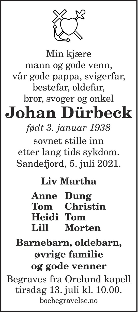 Johan Dürbeck Dødsannonse