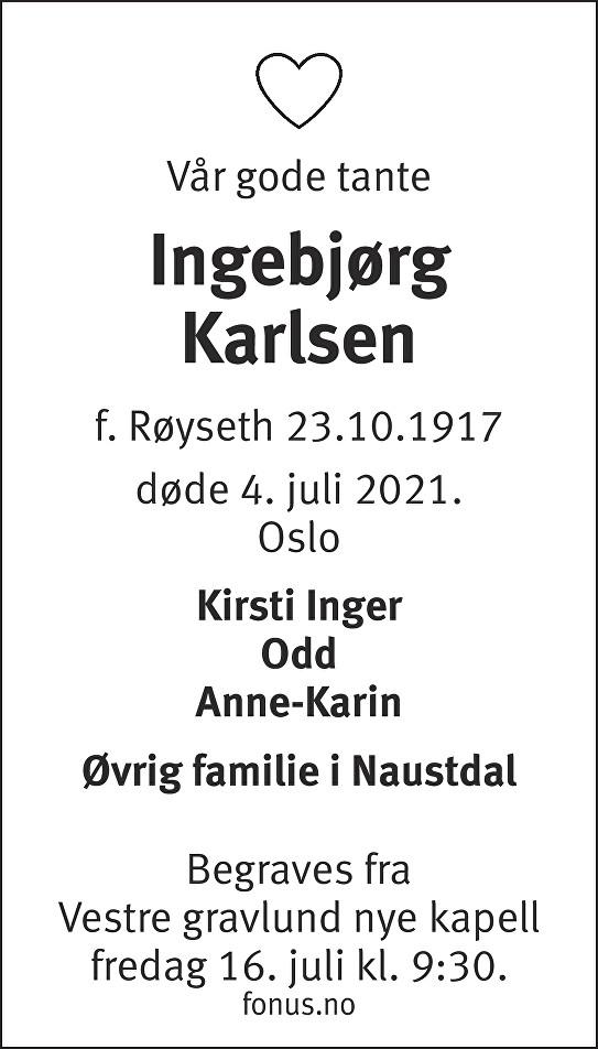 Ingebjørg Karlsen Dødsannonse