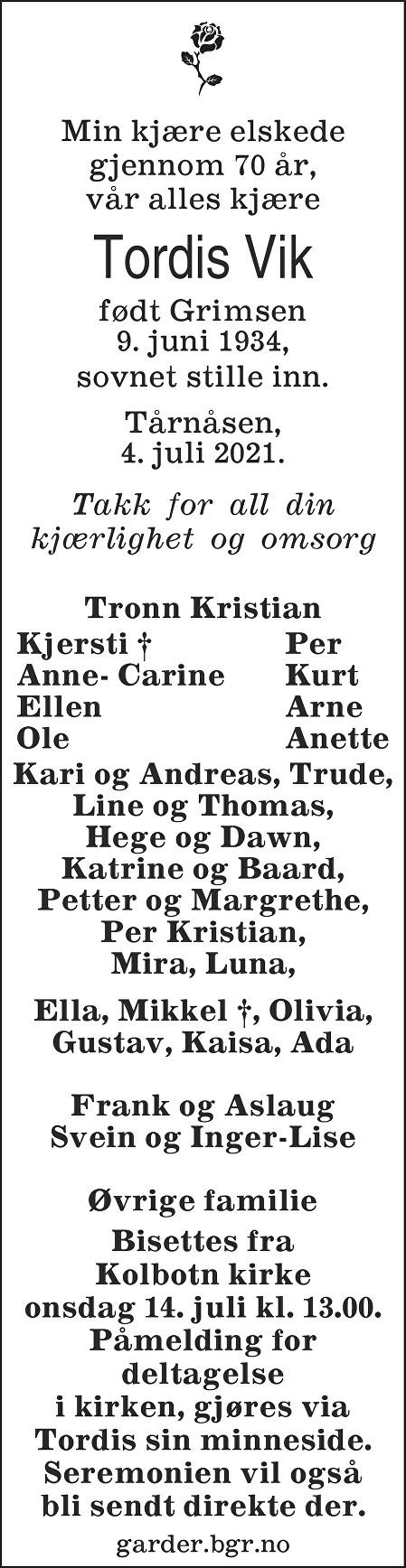 Tordis Vik Dødsannonse