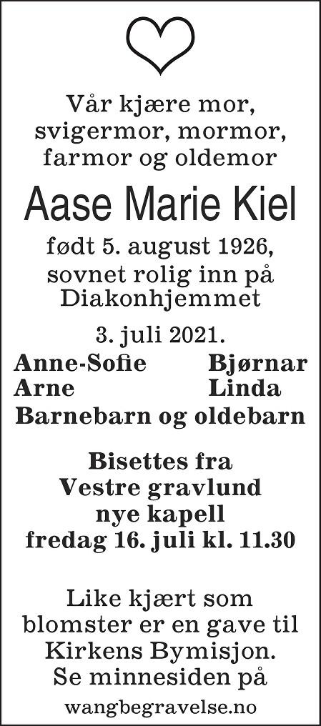 Aase Marie Kiel Dødsannonse