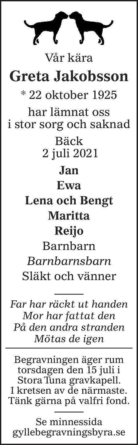 Greta Jakobsson Death notice