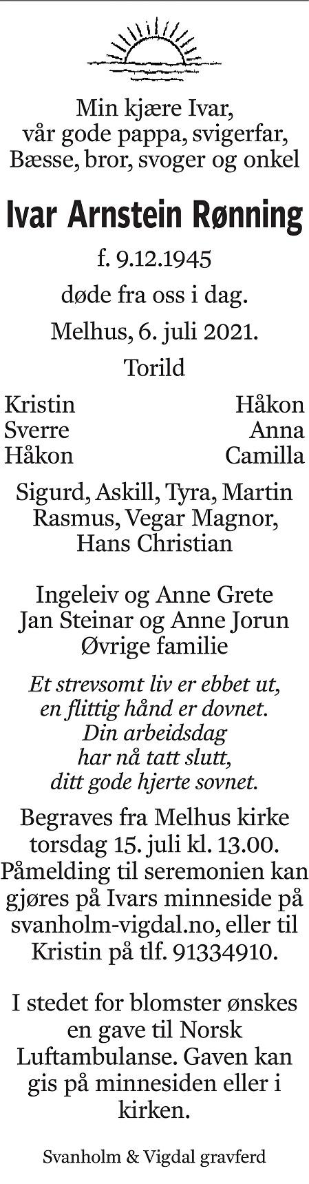 Ivar Arnstein Rønning Dødsannonse