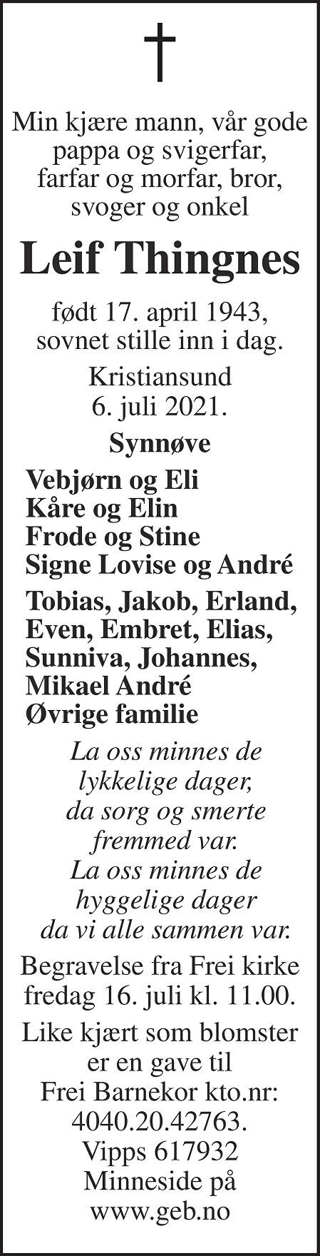 Leif Thingnes Dødsannonse
