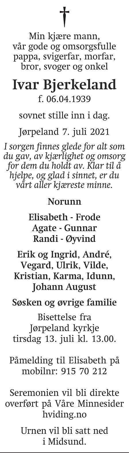 Ivar  Bjerkeland Dødsannonse