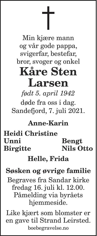Kåre Sten Larsen Dødsannonse