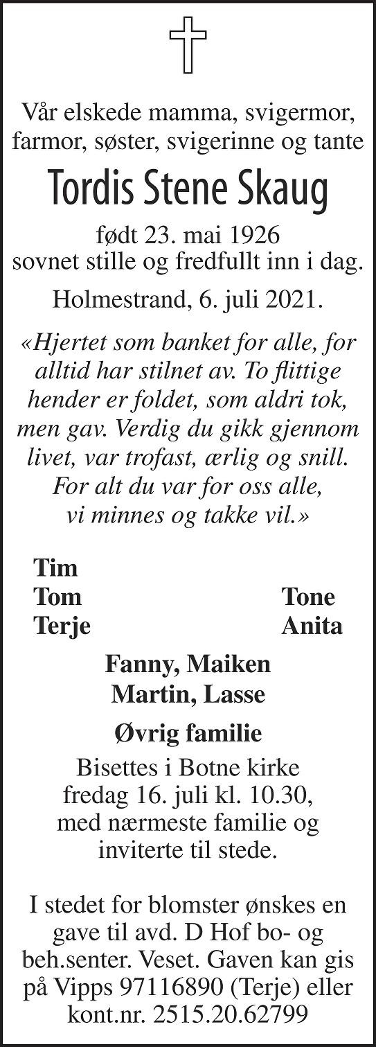 Tordis Stene Skaug Dødsannonse