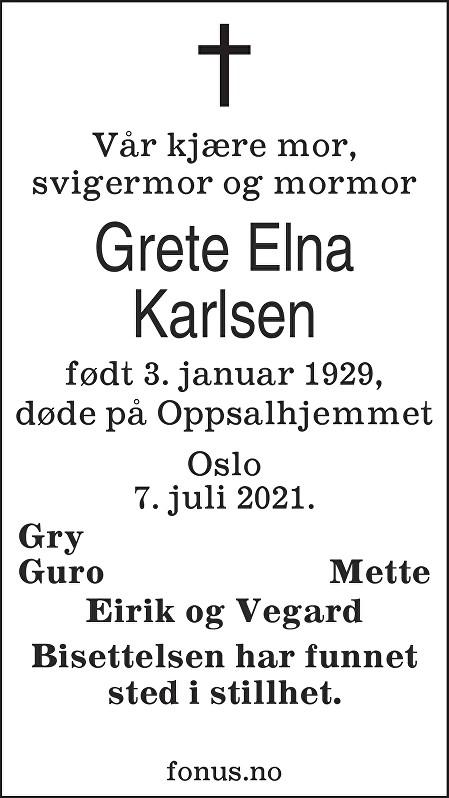 Grete Elna Karlsen Dødsannonse