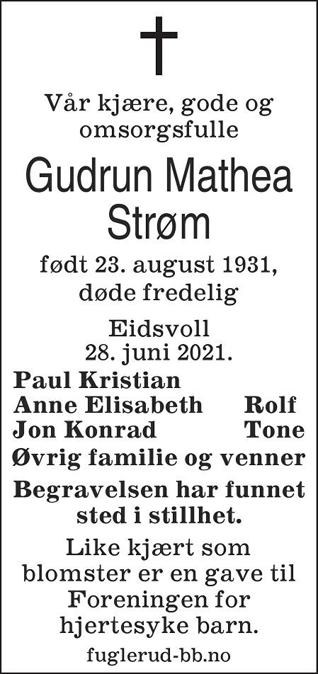Gudrun Mathea Strøm Dødsannonse