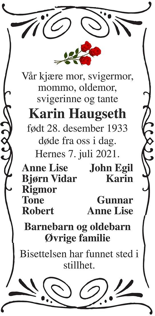 Karin Haugseth Dødsannonse