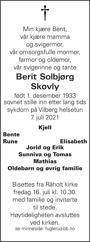 Berit Solbjørg Skovly Dødsannonse